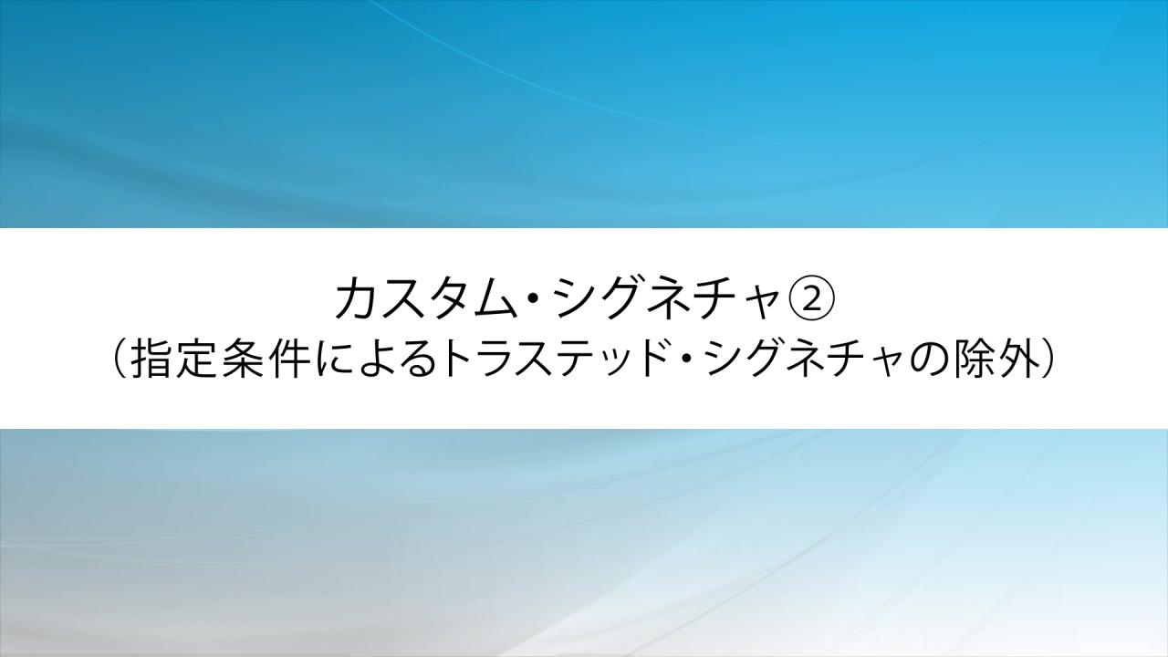 カスタム・シグネチャ②(指定条件によるトラステッド・シグネチャの除外)