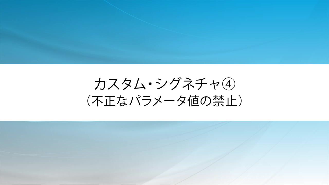 カスタム・シグネチャ④(不正なパラメータ値の禁止)